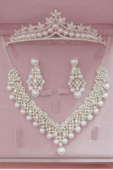 Bridal Wedding Jewelry Sets Pearl Tiara Necklace and Earrings Sets for Women