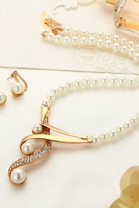 Faux Pearl Clavicle Necklace Jewelry Wedding Bridal Necklace Earring Set