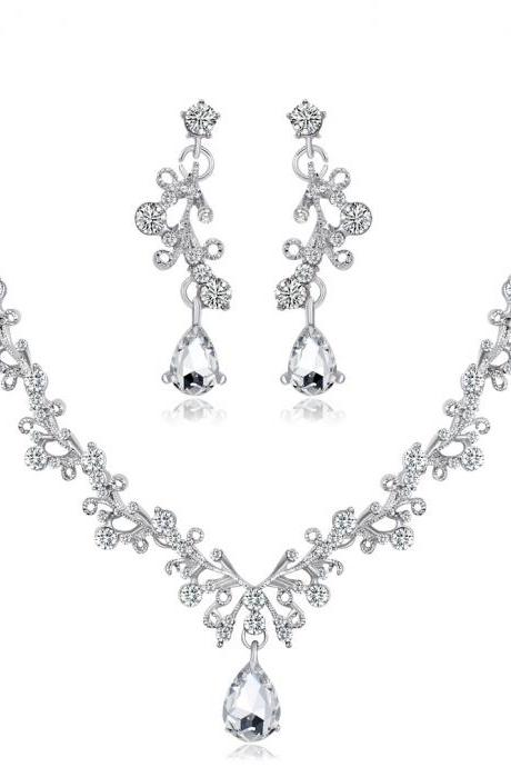 Crystal Diamond Necklace Set Bridal Wedding Necklace Two Piece Set