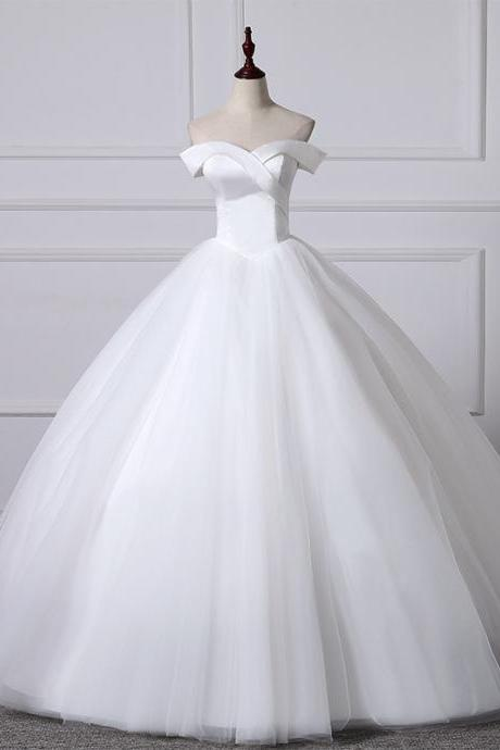 New word shoulder wedding dress simple Qi style slim white wedding tutu skirt simple wedding dress