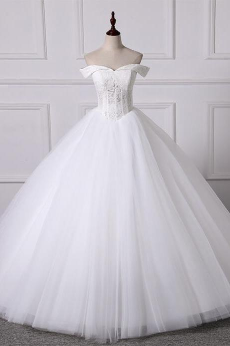 Wedding dress 2020 new spring word shoulder bride bride wedding fluffy light wedding dress