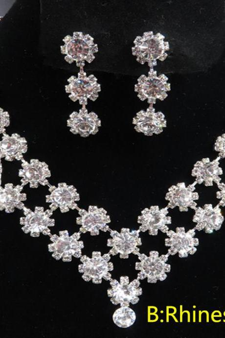 Bridal Jewelry Rhinestone Pearl Necklace Earring Set