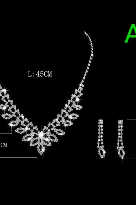 Wedding Shooting Decoration Claw Chain Rhinestone Pearl Necklace Earring Jewelry Set
