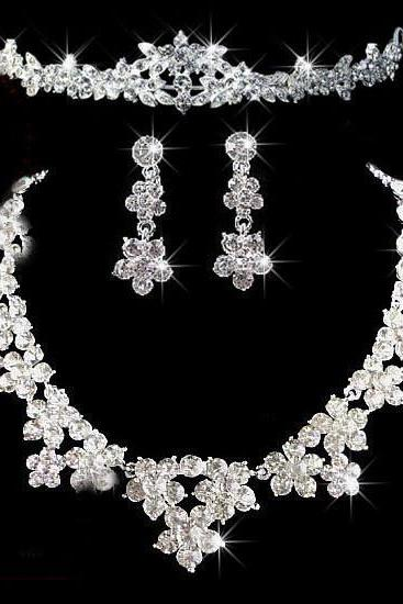 New bride jewelry three-piece bride alloy crown necklace earrings jewelry set wedding jewelry female
