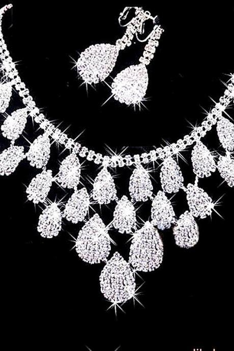 Gorgeous Diamond Bridal Necklace Set Wedding Evening Gowns Bridal Jewelry Set