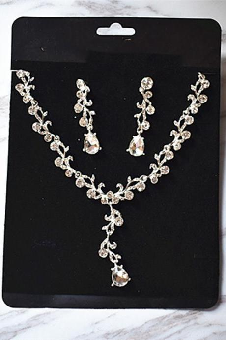 Bridal knot wedding dress accessories jewelry Shine jewelry rhinestone necklace earrings