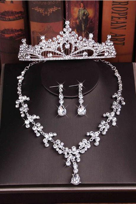 Bridal necklace crown three-piece set with drill bit decorated with wedding accessories princess crown rhinestone comb