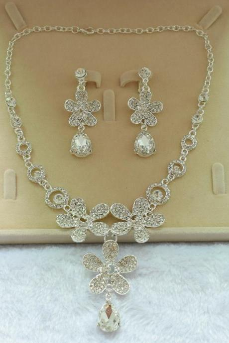 Bridal jewelry rhinestone necklace earrings two-piece suit wedding wedding accessories jewelry jewelry
