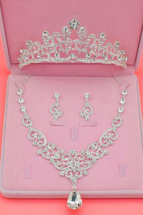 Bridal jewelry rhinestone necklace wedding accessories crown three-piece