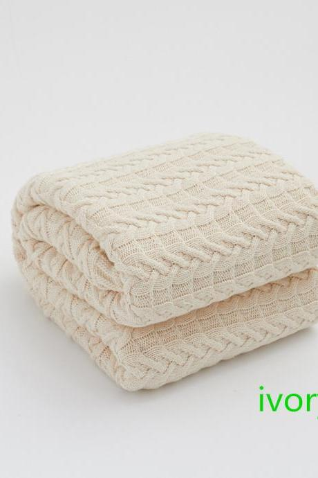 Cotton twisted knit blanket sofa air conditioning nap Nordic knit blanket Twist cotton wool blanket bed blanket