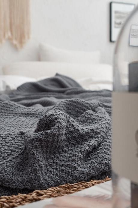 Simple Knitted Blanket Office Napping Air Conditioning Cover Sofa Blanket Wholesale Cotton Osmanthus Needle Knitting Blanket