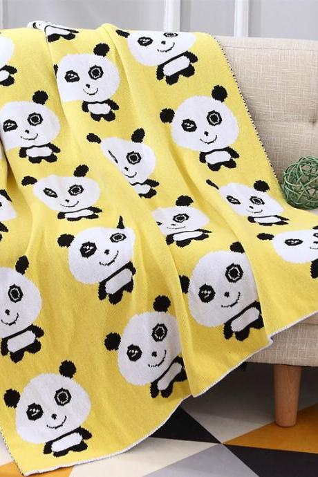New cotton knit blanket children blanket cartoon panda baby blanket bath towel machine washable
