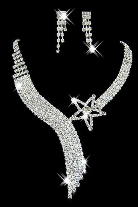 Bridal Jewelry Set Wholesale Women's Rhinestone Earrings Necklace Jewelry