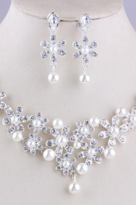Bridal Necklace Wholesale Marriage Rhinestone Set Chain Wedding Jewelry Bridal pearl necklace