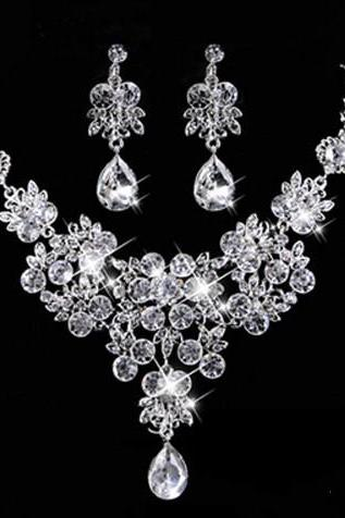 Bridal Jewelry Set Earrings Necklace Rhinestone Pearl Accessories