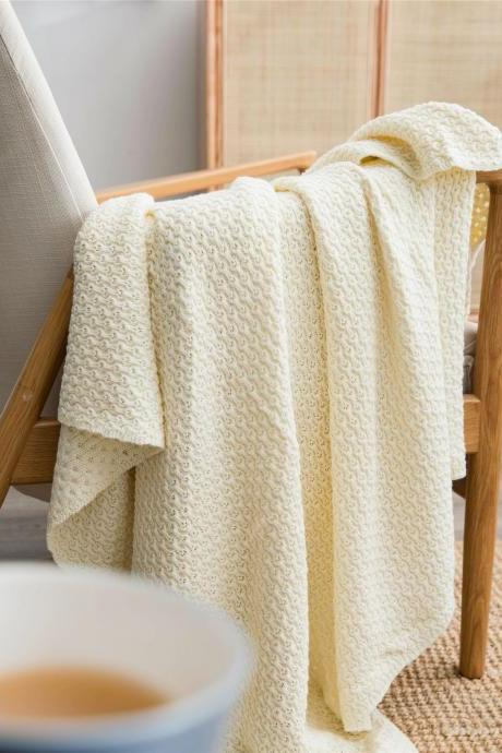 Cotton knitted sofa blanket office lunch line blanket bedding