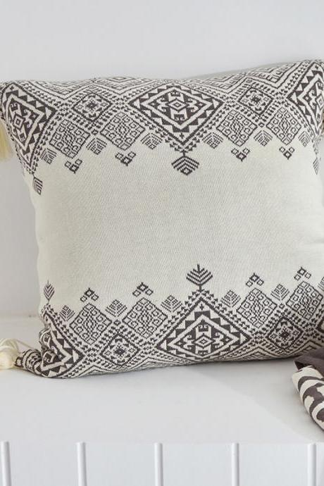 Sofa decoration cotton knitted pillowcase geometric pillow sofa pillowcase without core