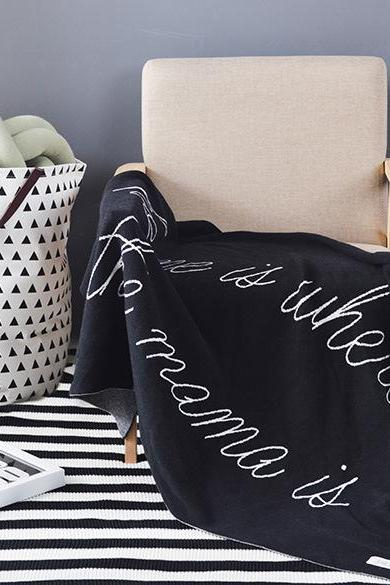 English alphabet cotton knitting thread blanket sofa car cover blanket blanket photography props