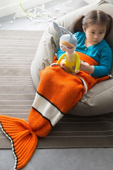 New Children's Nemo Fishtail Blanket Knitted Fishtail Blanket Knitted Mermaid Blanket