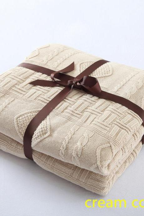 Cotton thick knitted thread blanket Air-conditioning blanket European style sofa cover blanket