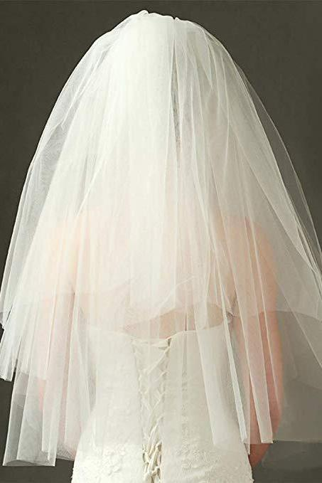 Wedding Bridal Veil with Comb 2 Tier Cut Edge Fingertip Length Tulle Veil for Brides(White)