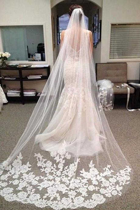 White Ivory Lace Edge Cathedral Length Wedding Bridal Veil with Comb