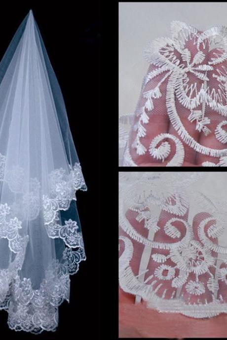 White bridal veil lace knot wedding dress accessories
