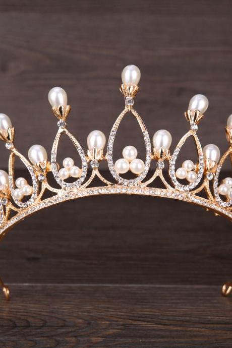 European and American pearl crown wedding crown bride headdress wedding headdress birthday party jewelry