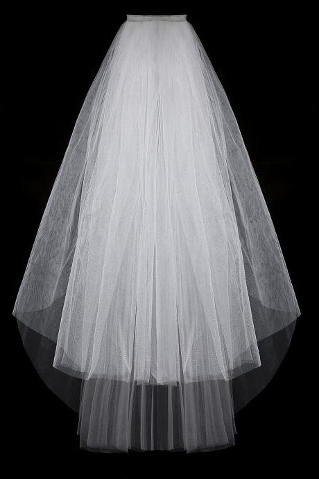 Bridal headdress veil hair comb short white two-layer soft tulle veil