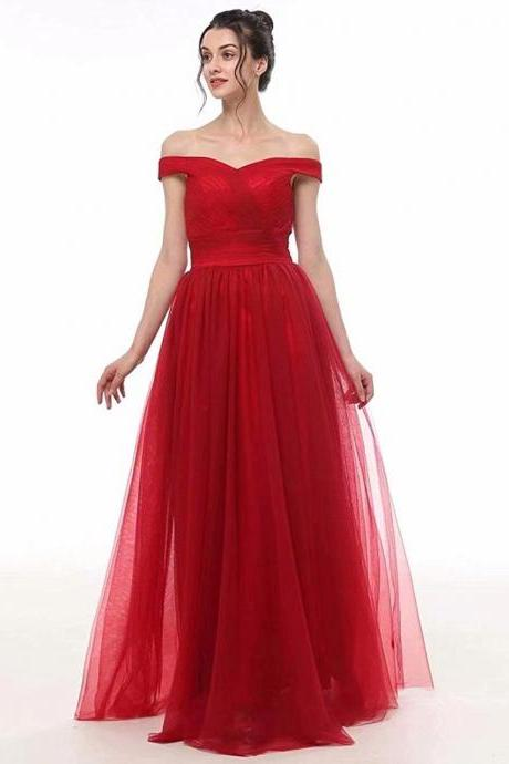 Women's wedding dress red long-shoulder prom dress party evening dress