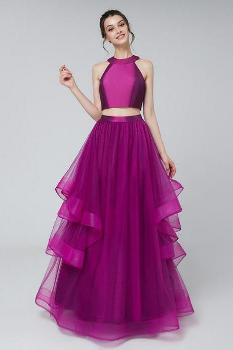 Prom long evening dress tulle ruffle skirt long A-shaped prom dress