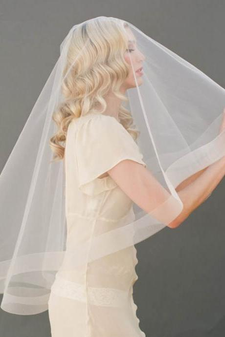 Bridal veil single layer travel veil simple veil can add comb