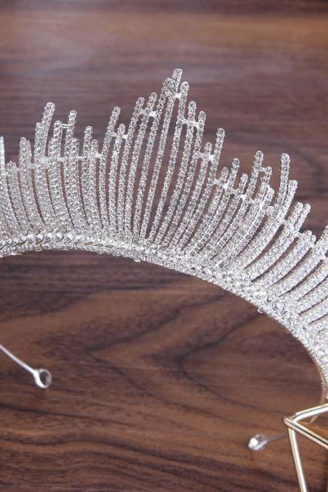 European bride crown silver diamond wedding hair accessories atmospheric princess birthday party wedding accessories