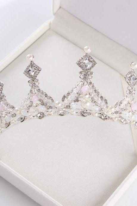 Japanese and Korean bride crown high-end crystal hair accessories European princess wedding crown tiara birthday party wedding jewelry