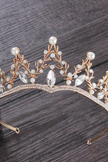 Golden European Crystal Bridal Crown Princess Headdress Tiara Wedding Hair Accessories Wedding Dress with Jewelry