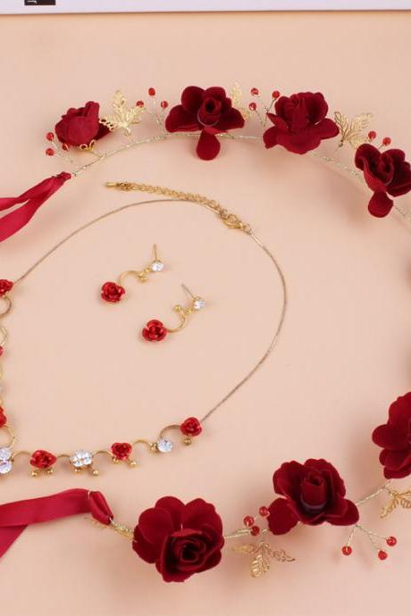 Bridal Headdress Red Rose Flower Necklace Earrings Three-piece Wedding Head Flower Toasting Clothing with Jewelry