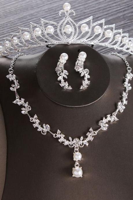 Bridal Crown Necklace Earrings Three Piece Set Bridal Jewelry Crystal Diamond Wedding Wedding Dress Accessories