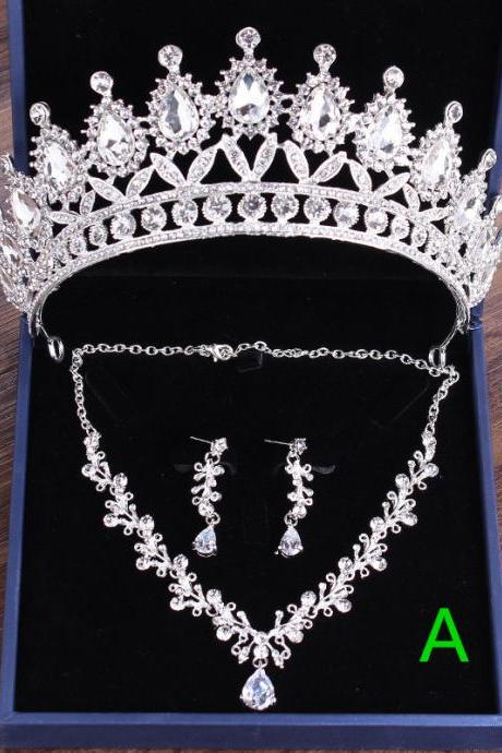 Bridal Crown Headdress Three-piece Set Wedding Jewelry Wedding Dress Hair Accessories Pearl Rhinestone Wedding Jewelry