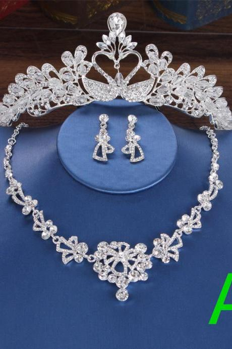 Bridal crown headdress wedding crown wedding accessories necklace earrings three-piece suit