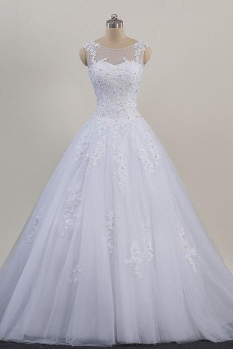 Women's White Mesh Lace Applique Beaded Wedding Dress