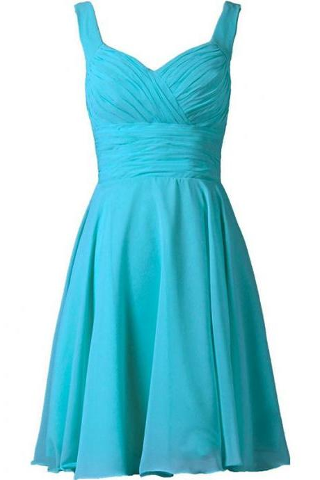 Women's pleated short bridesmaid dress party dress