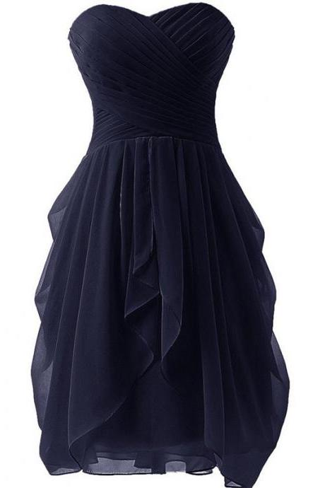 Women's Pleated Tube Top Chiffon Skirt Bridesmaid Skirt
