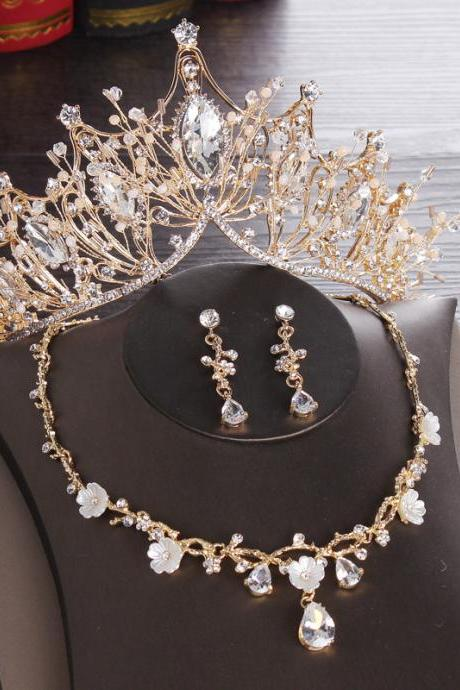 Bridal Headdress Crown Necklace Ear Studs Three-piece Wholesale Wholesale Handmade Crystal Diamond Crown
