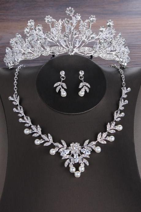Korean bride crown necklace earrings exquisite flower zircon three-piece set wedding jewelry evening dress with jewelry