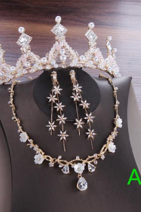 Bridal headdress silver crown three-piece set wedding necklace earring jewelry set European and American new wedding accessories