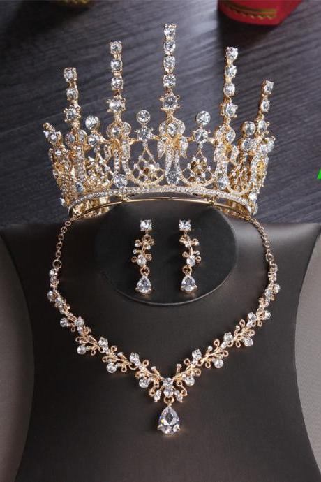 Bridal Headdress New Round Crown Three-piece Wedding Hair Accessories Princess Birthday Crown Wedding Accessories