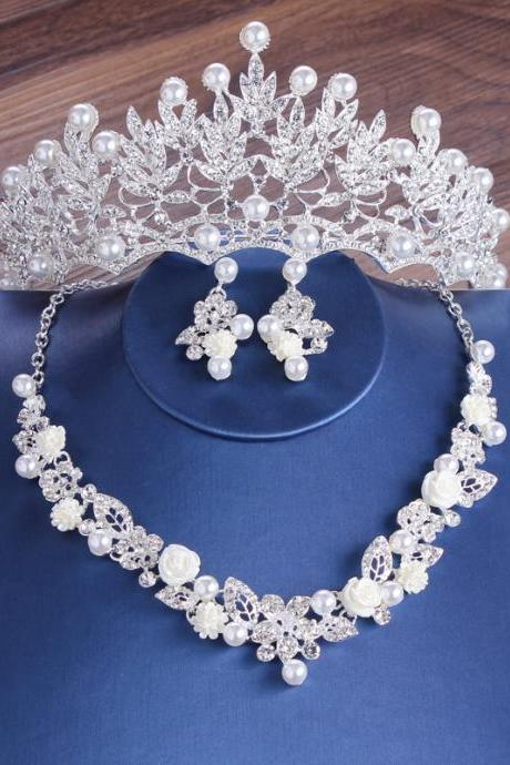 Bridal crown headdress baroque atmospheric pearl wedding wedding hair accessories three-piece dress accessories