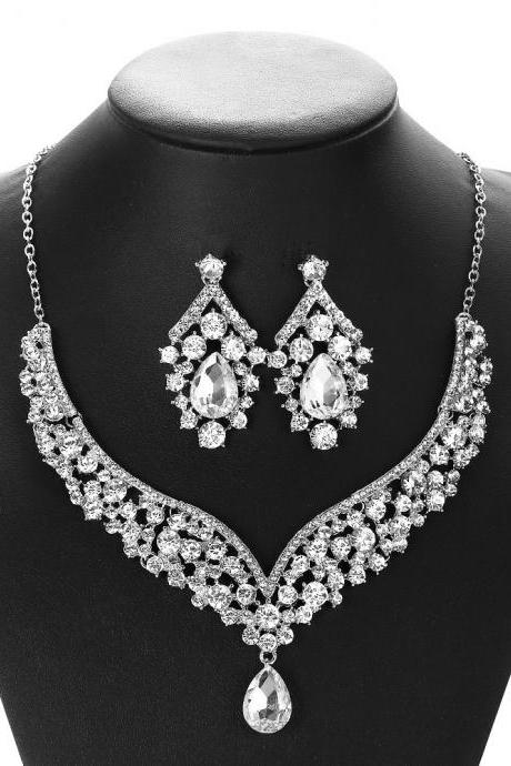 Bridal necklace earring jewelry set alloy diamond cross-border foreign trade wholesale jewelry wedding accessories