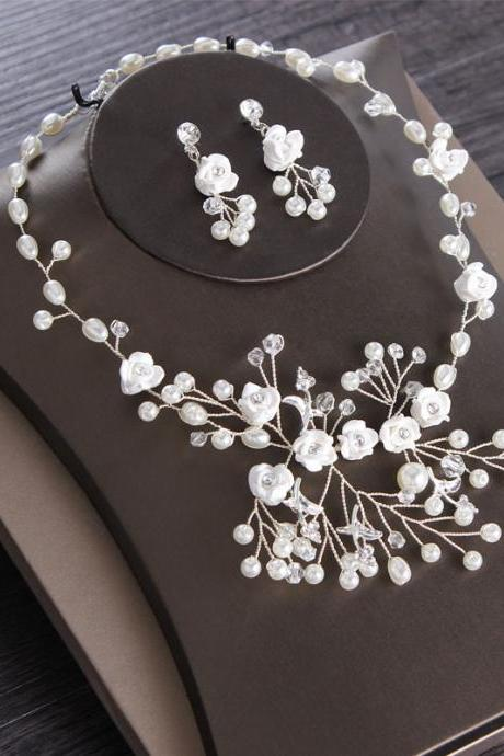 Bridal necklace earring jewelry set alloy diamond cross jewelry wedding accessories