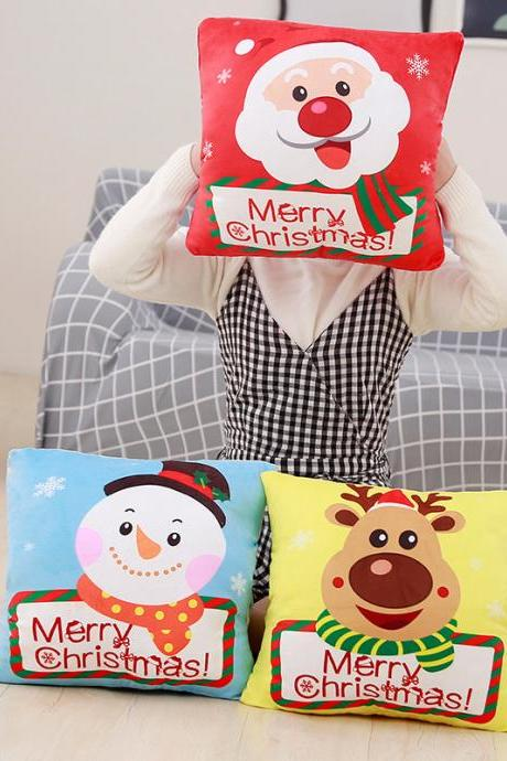 Plush toy santa claus hand cover pillow air conditioning blanket elk snowman child christmas gift